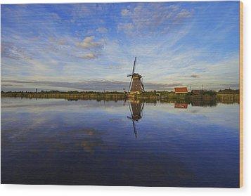 Lone Windmill Wood Print by Chad Dutson