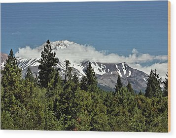 Lonely As God And White As A Winter Moon - Mount Shasta California Wood Print by Christine Till