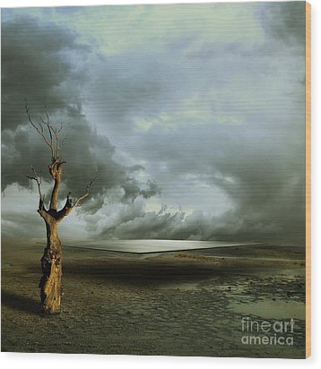 Wood Print featuring the digital art Lonely Death by Franziskus Pfleghart