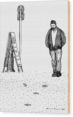 Lonely Man Wood Print by Karl Addison