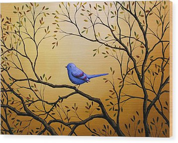 Lonely Night By Amy Giacomelli Bird Art Wood Print by Amy Giacomelli