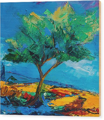 Lonely Olive Tree Wood Print by Elise Palmigiani