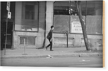 Wood Print featuring the photograph Lonely Urban Walk by Valentino Visentini