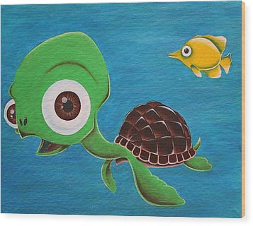 Lonesome Fish And Friendly Turtle Wood Print by Landon Clary