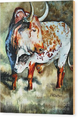 Wood Print featuring the painting Lonesome Longhorn by Karen Kennedy Chatham