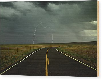 Long And Winding Road Against Lighting Strike Wood Print by DaveArnoldPhoto.com