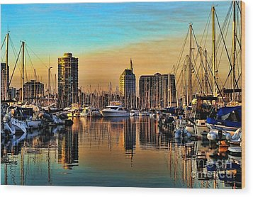 Wood Print featuring the photograph Long Beach Harbor by Mariola Bitner
