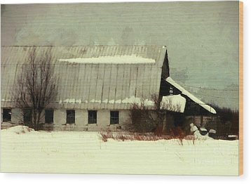 Wood Print featuring the photograph Long Cold Winter - Winter Barn by Janine Riley
