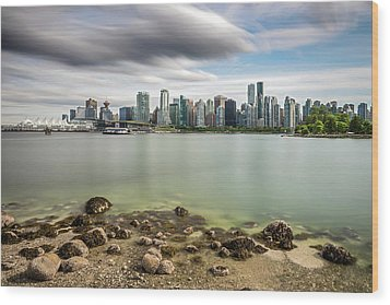 Wood Print featuring the photograph Long Exposure Of Vancouver City by Pierre Leclerc Photography