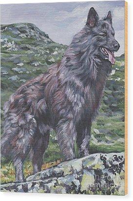 Wood Print featuring the painting Long Hair Dutch Shepherd by Lee Ann Shepard