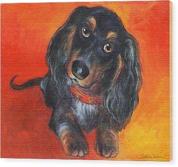 Long Haired Dachshund Dog Puppy Portrait Painting Wood Print by Svetlana Novikova