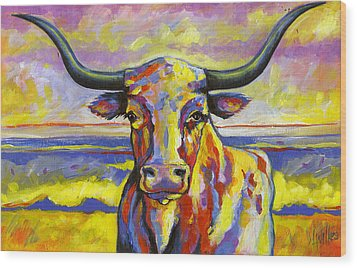Long Horn At Sunset Wood Print