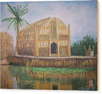 Long Hut Of The Marsh Arabs Wood Print by Ron Bowles