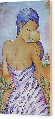 Long Impasto Motherhood Vertical Painting  Wood Print
