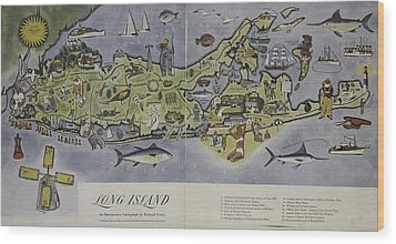 Wood Print featuring the photograph Long Island An Interpretive Cartograph by Duncan Pearson