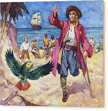 Long John Silver And His Parrot Wood Print by James McConnell
