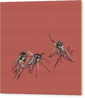Long-legged Flies Wood Print