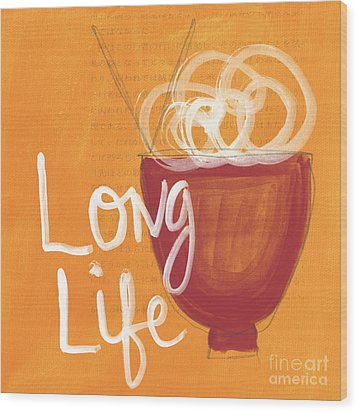 Long Life Noodle Bowl Wood Print by Linda Woods