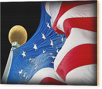 Long May She Wave The American Flag Wood Print by Jennie Marie Schell