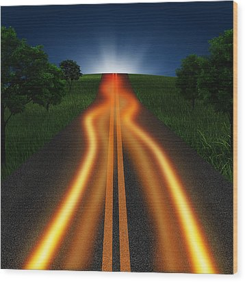 Long Road In Twilight Wood Print by Setsiri Silapasuwanchai