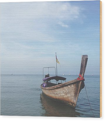 Wood Print featuring the photograph Long Tail Boat Stillness by Ivy Ho