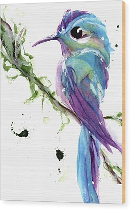 Wood Print featuring the painting Long-tailed Sylph by Dawn Derman