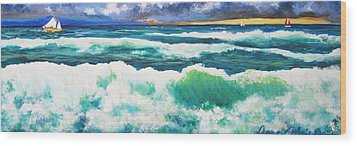 Long Thin Wave Wood Print by Anne Marie Brown