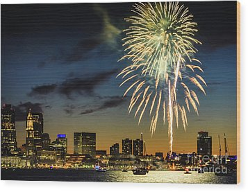 Long Warf Fireworks 1 Wood Print by Mike Ste Marie