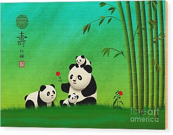 Wood Print featuring the digital art Longevity Panda Family Asian Art by John Wills