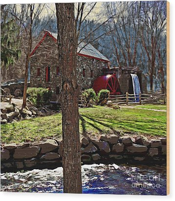 Longfellow's Wayside Gristmill Wood Print by Earl Jackson