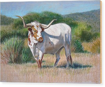 Wood Print featuring the painting Longhorn Bull by Sue Halstenberg