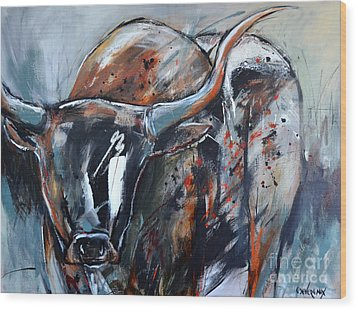 Wood Print featuring the painting Longhorn by Cher Devereaux