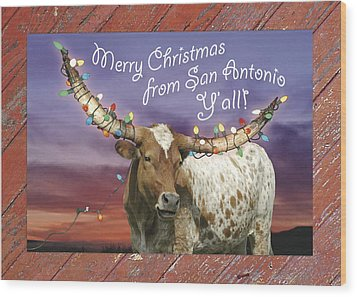 Longhorn Christmas Card From San Antonio Wood Print by Robert Anschutz