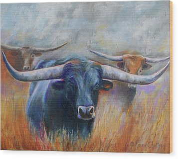 Longhorn Country Wood Print by Karen Kennedy Chatham