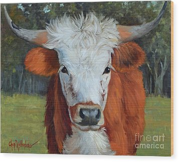 Longhorn Cow Painting II, Ms Tilly  Wood Print