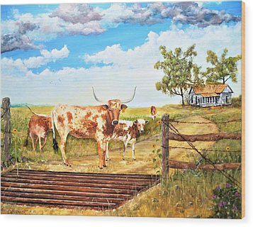 Longhorn Stand Off Your Place Or Mine Wood Print
