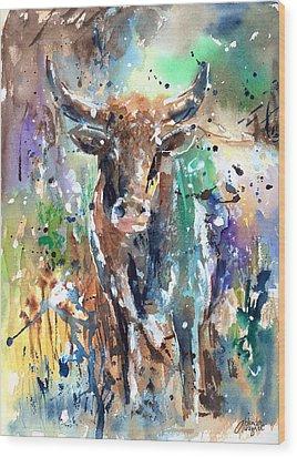 Longhorn Steer Wood Print by Arline Wagner