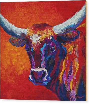 Longhorn Steer Wood Print by Marion Rose
