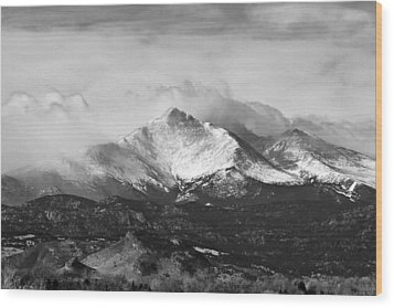Longs Peak And A Mean Storm Wood Print by James BO  Insogna
