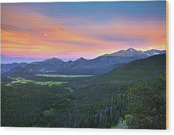 Wood Print featuring the photograph Longs Peak Sunset by David Chandler