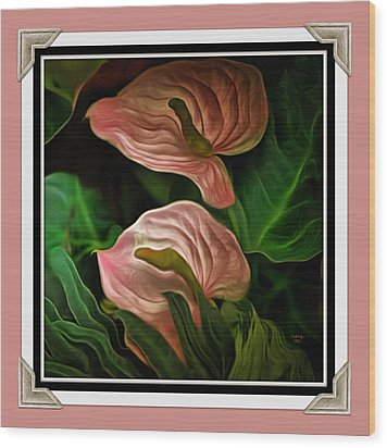 Wood Print featuring the mixed media Longwood Lilies by Trish Tritz
