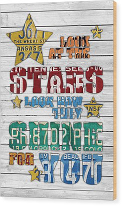 Look At The Stars Coldplay Yellow Inspired Typography Made Using Vintage Recycled License Plates V2 Wood Print by Design Turnpike