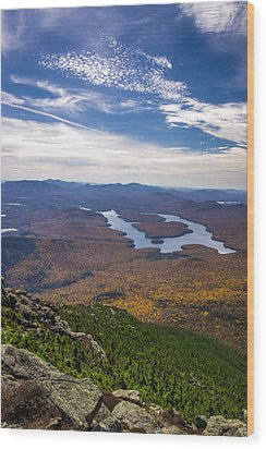 Lookin Down On Lake Placid Wood Print