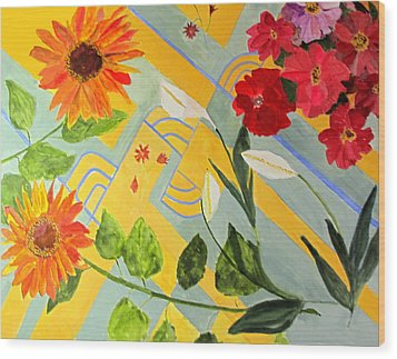 Wood Print featuring the painting Looking Down On The Flowers On The Tile Floor by Sandy McIntire
