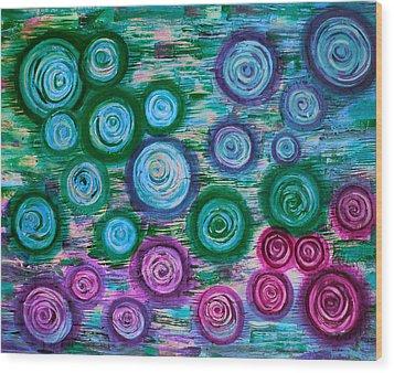 Looking Down On Umbrellas-bleu Wood Print by Brenda Higginson
