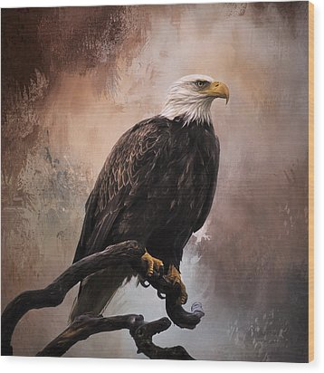 Looking Forward - Eagle Art Wood Print by Jordan Blackstone