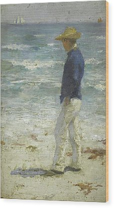 Wood Print featuring the painting Looking Out To Sea by Henry Scott Tuke