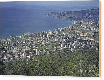 Looking Over Jounieh Bay From Harissa Wood Print by Sami Sarkis