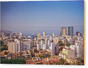 Wood Print featuring the photograph Looking Towards The Sea - Miraflores by Mary Machare