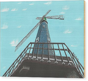 Looking Up At A Windmill Wood Print